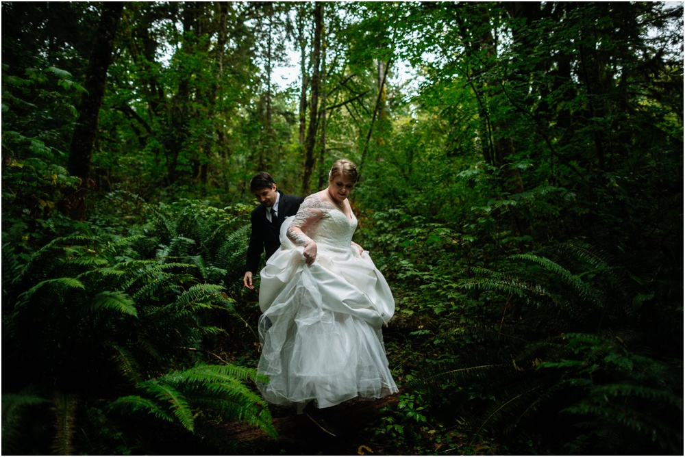bride walks through the woods Salish Lodge wedding