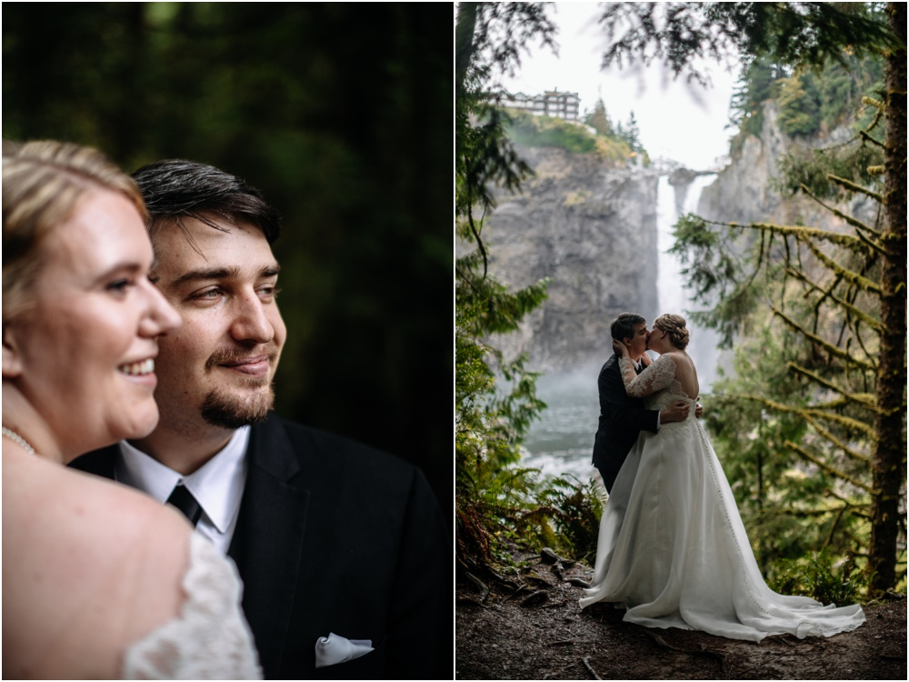 couple kisses with snoqualmie falls Salish Lodge wedding