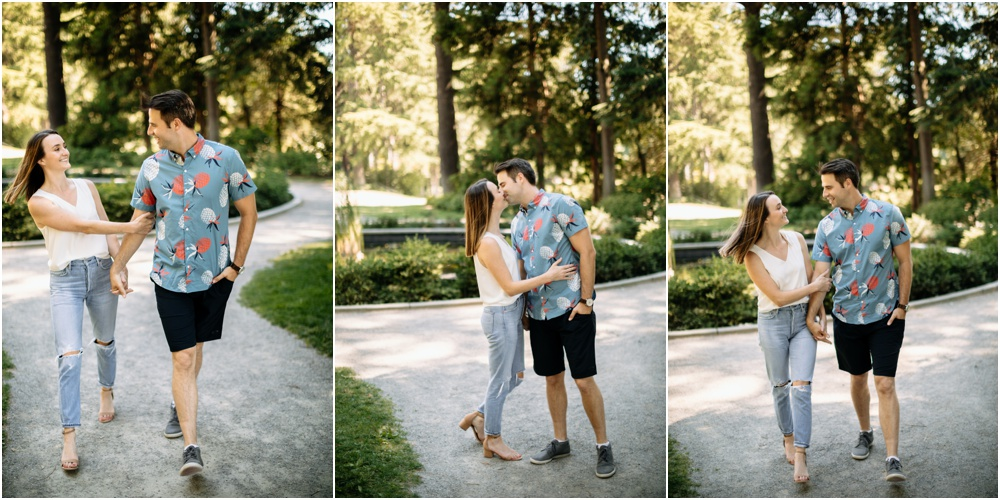 couple kisses summer light Seattle wedding photographer
