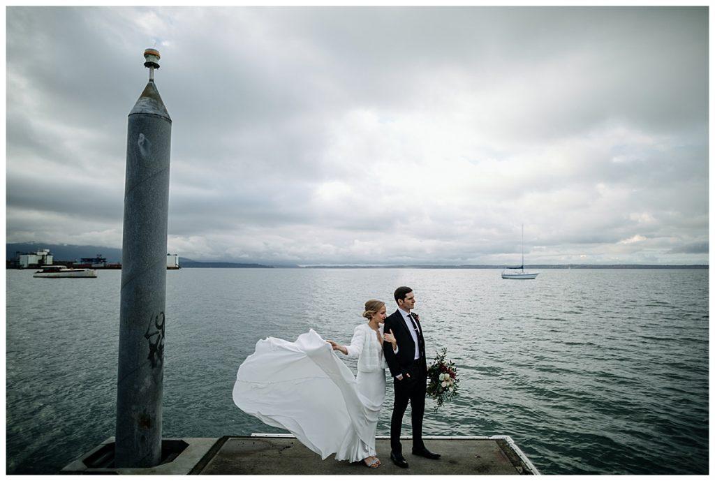 bride's dress flies in the wind Bellingham Ferry Terminal Wedding