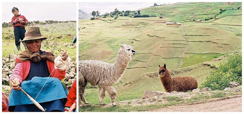 woman spins yarn and llamas in peru on film