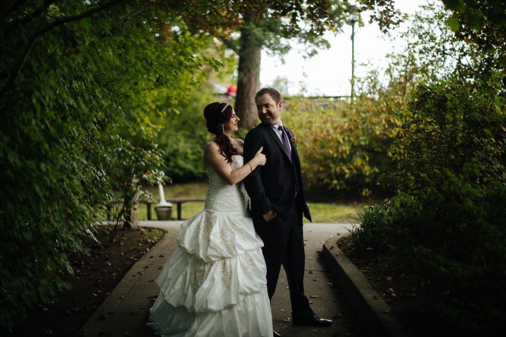 Bride and groom smile together at Salish Lodge wedding venue
