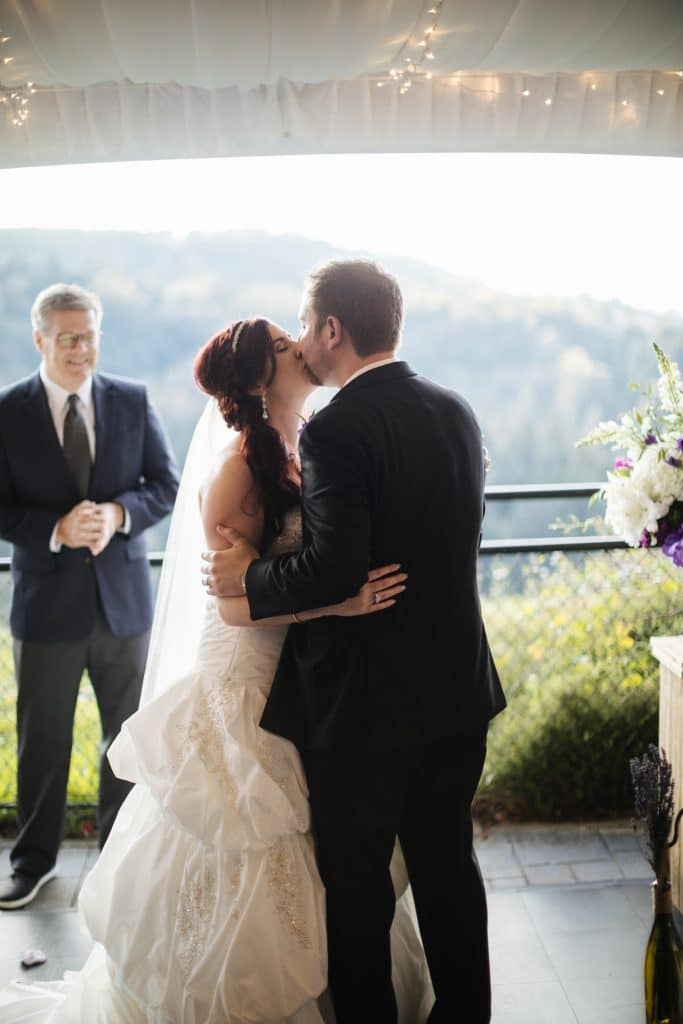 First kiss at Salish Lodge wedding venue