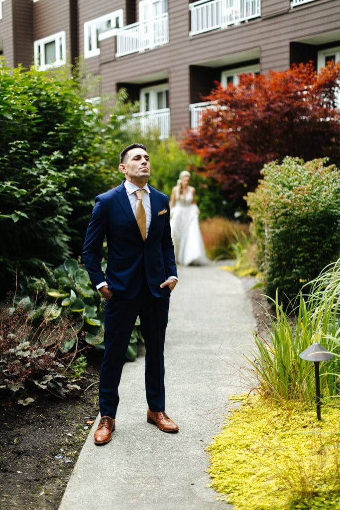 First look Salish Lodge wedding