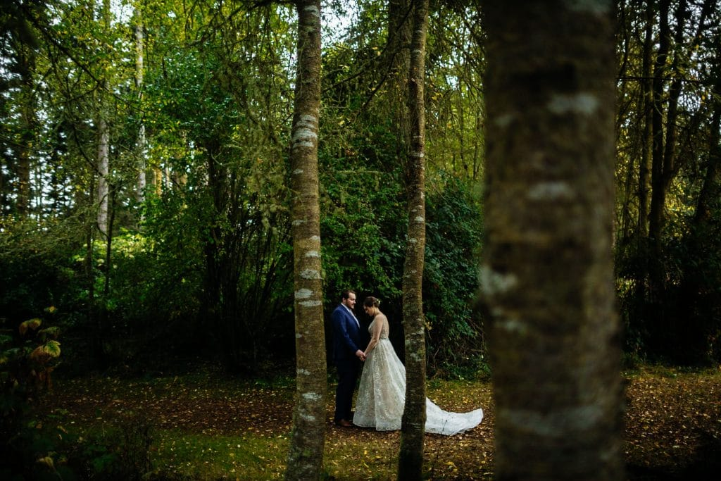 autumn wedding in woods first look