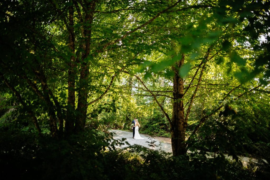 first look in the woods backyard wedding