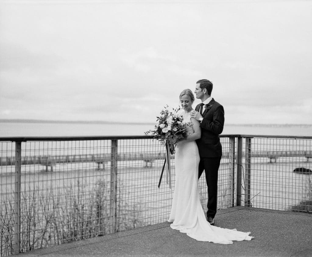 bride groom together black and white elopement
