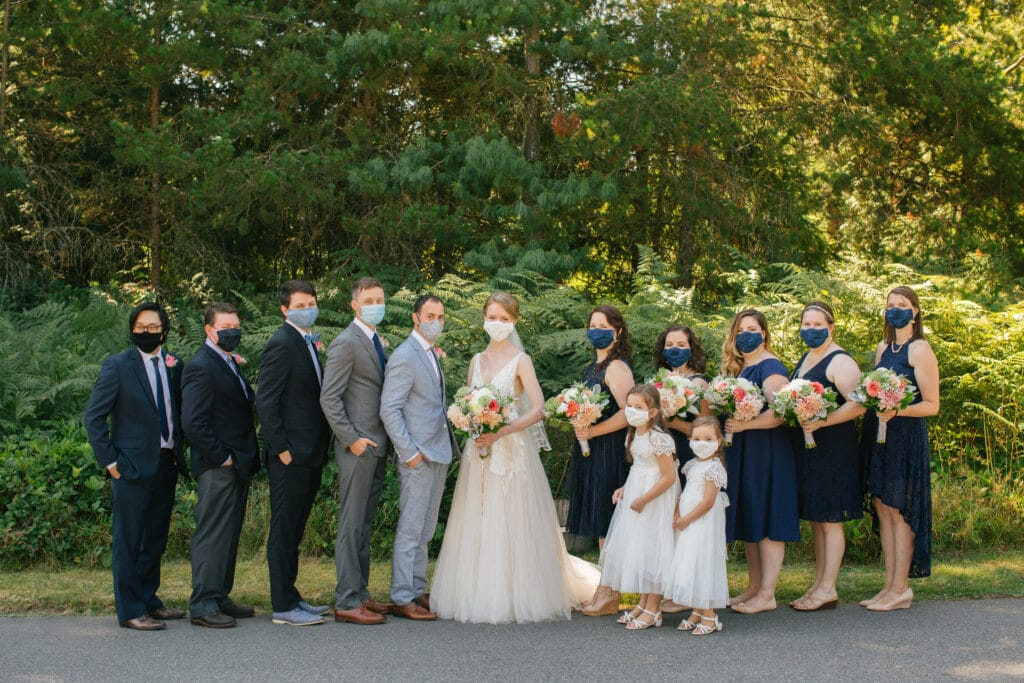 whole wedding party, including flower girls, wears masks at COVID-19 wedding