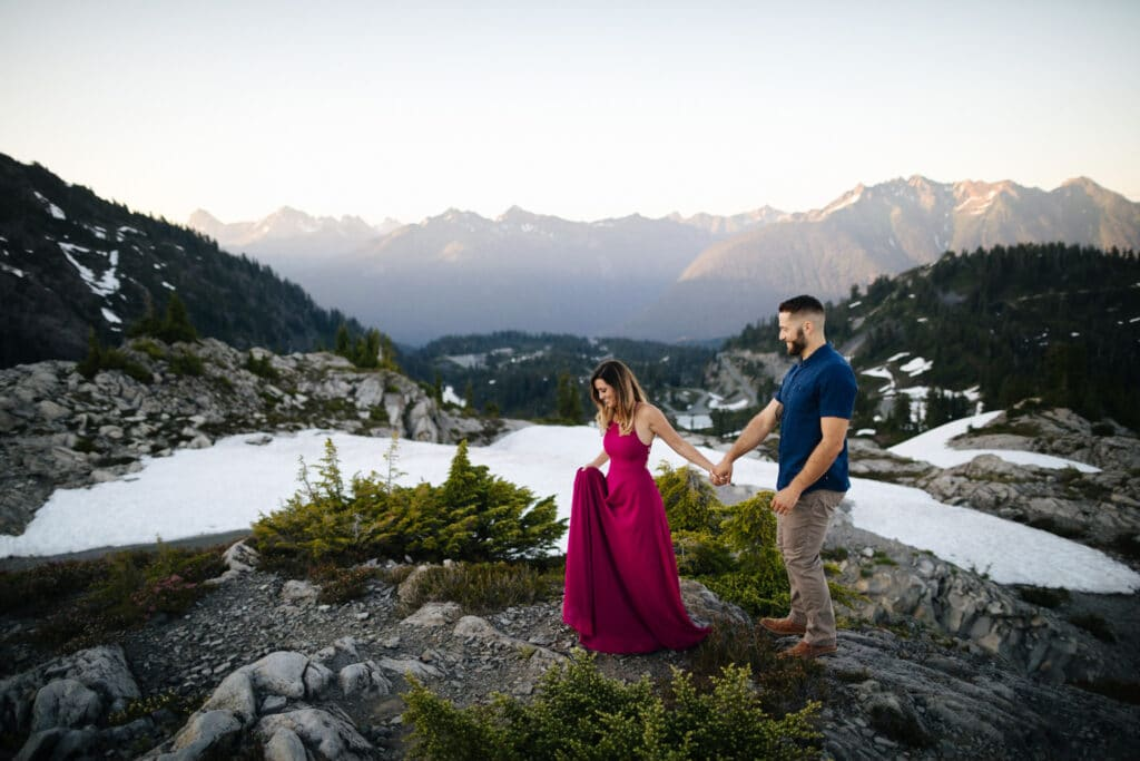 couple walks together during Artist Point elopement in the North Cascades