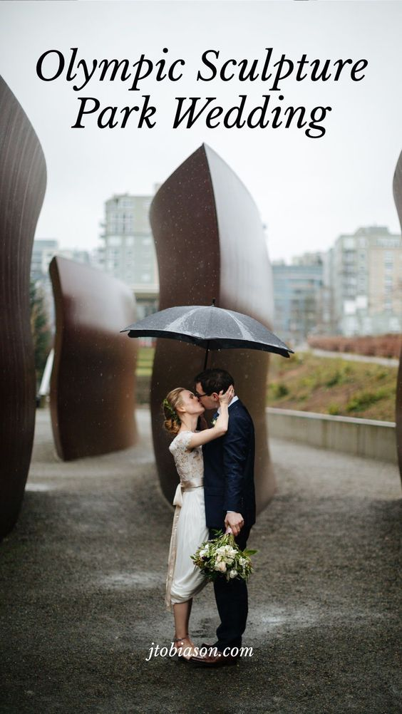 Couple kisses during olympic sculpture park wedding
