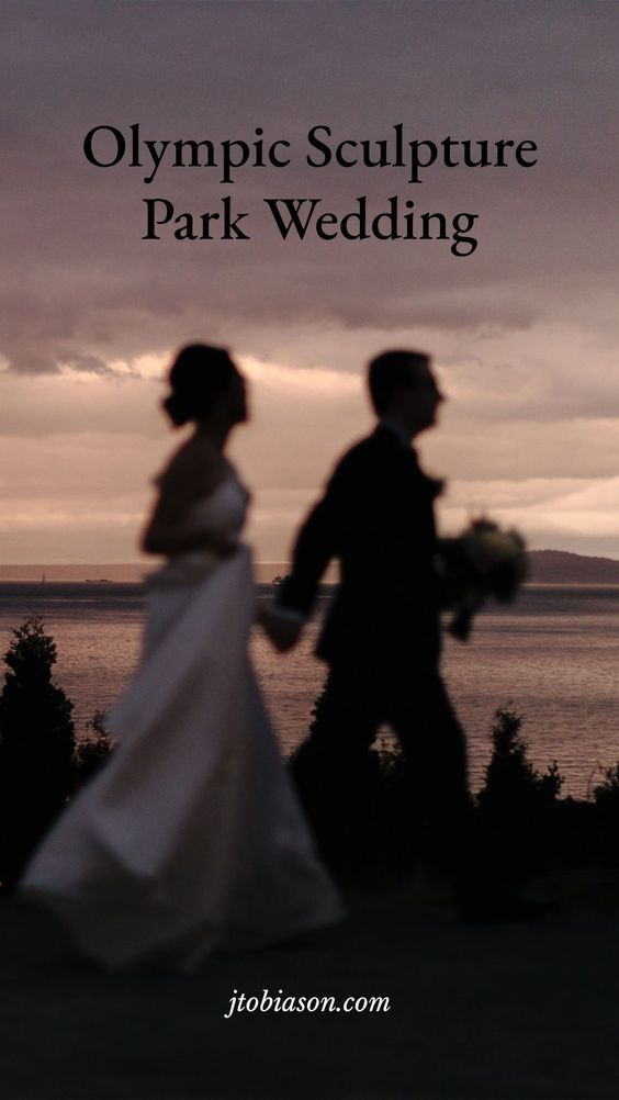 couple runs in the rain during olympic sculpture park wedding