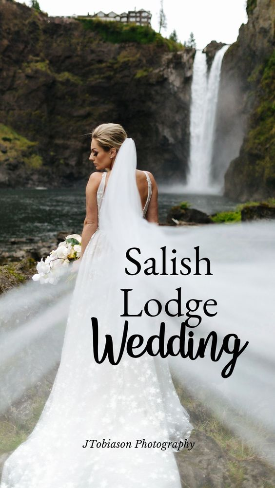 Salish Lodge Wedding bride with veil and waterfall