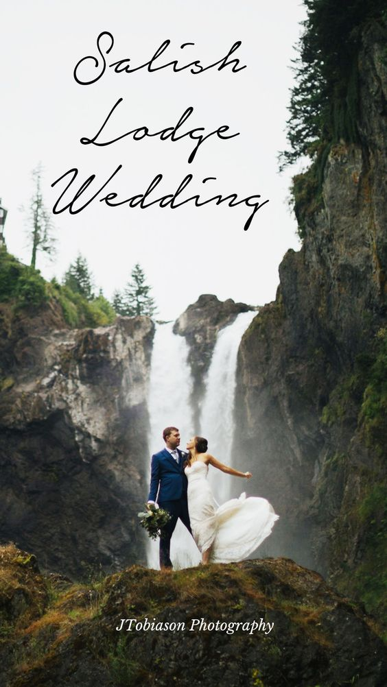 Salish Lodge Wedding bride and groom in front of waterfall