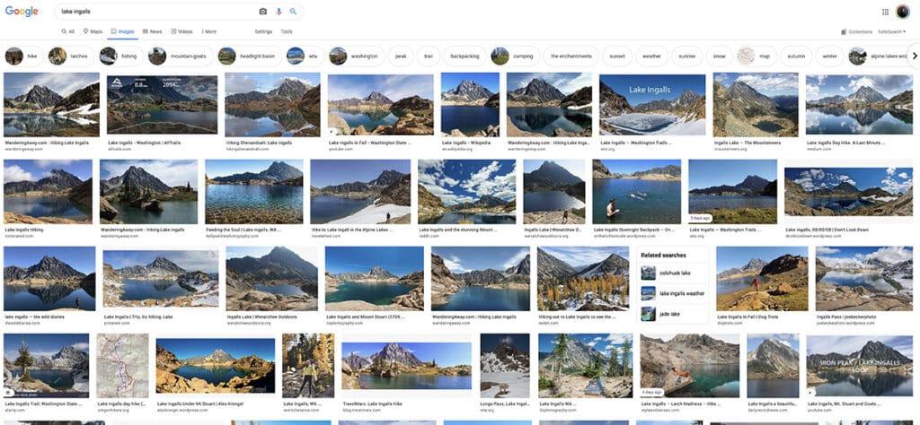 Google images of Lake Ingalls for Hiking Proposal