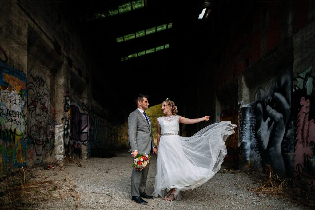 bride throws her dress during seattle elopement