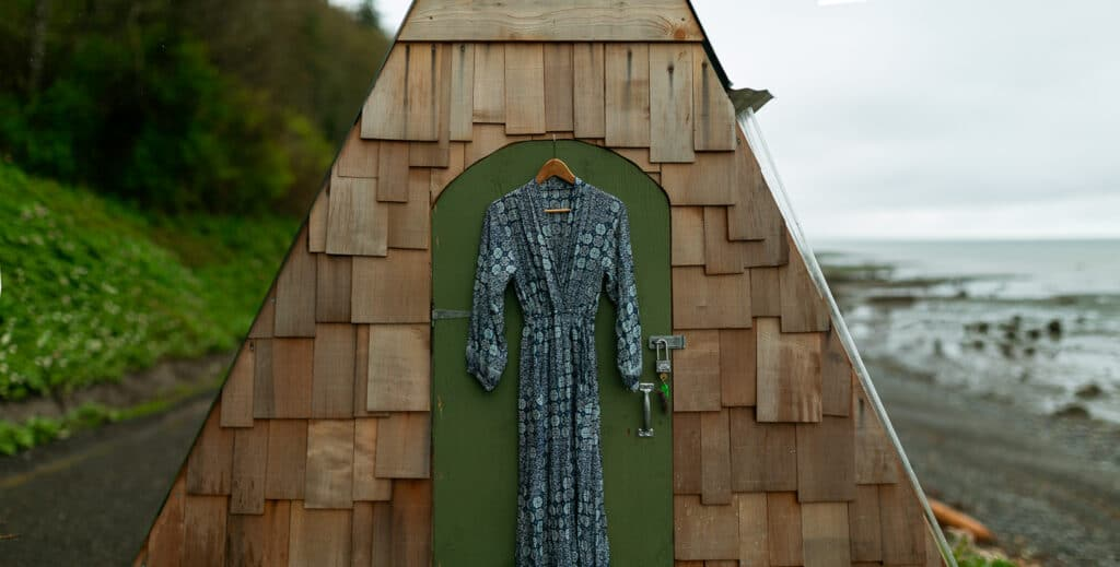 Bride's elopement dress at Whiskey creek on the Olympic Peninsula
