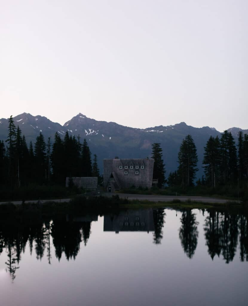 Cabin and reflecting lake in north cascades