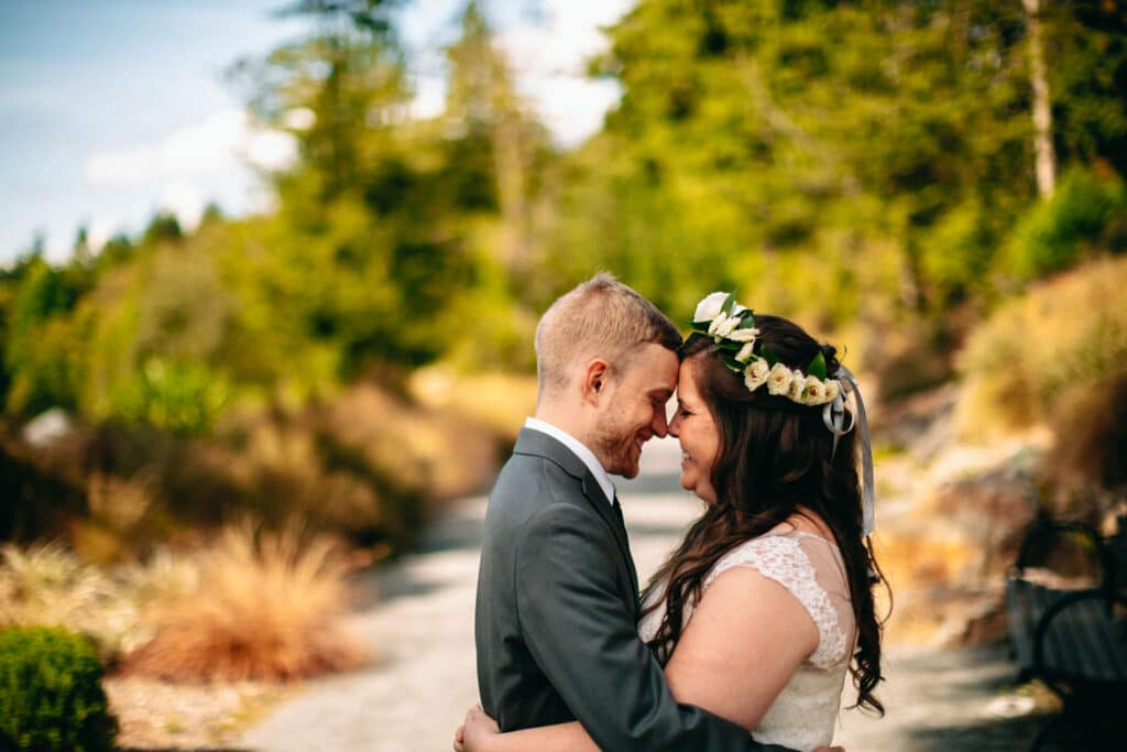 bride and groom on path during elopement