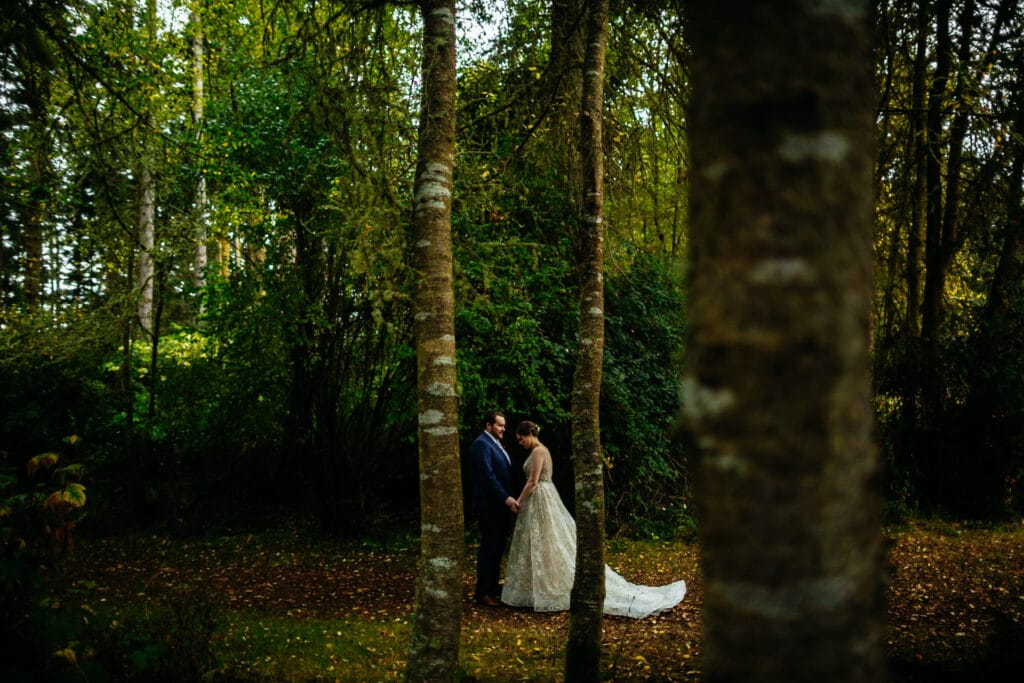 couple holds hands in the woods during elopement