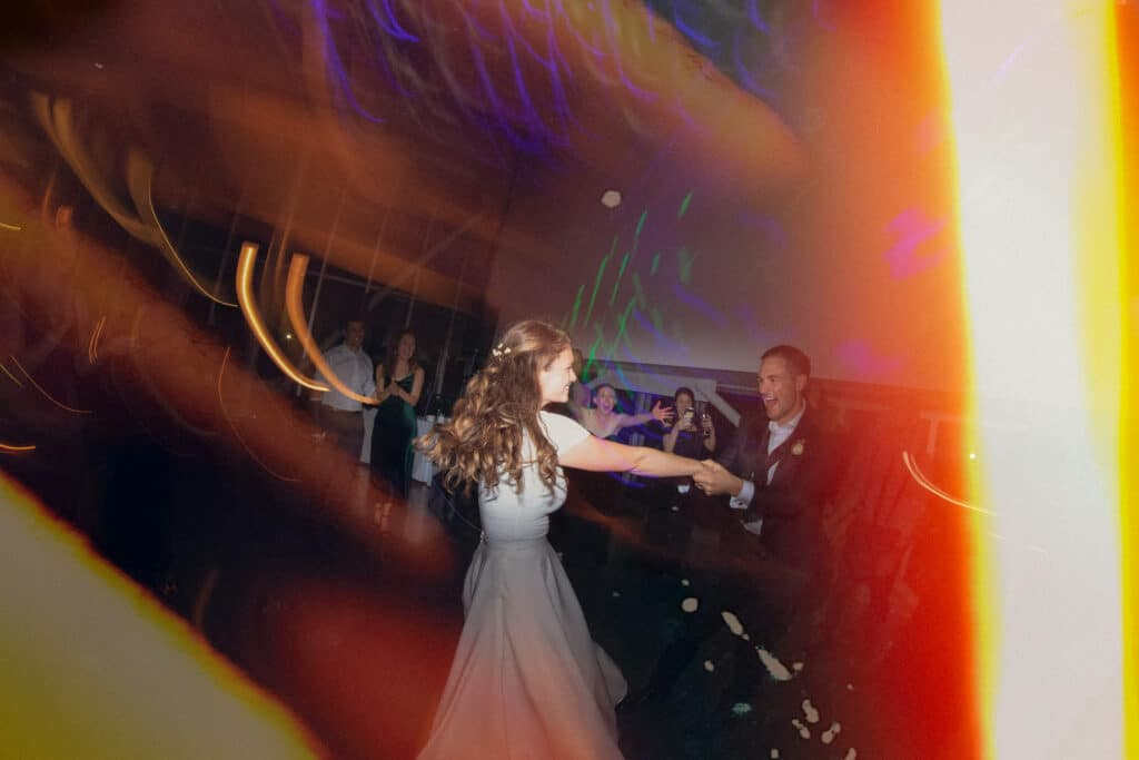 couple dances during olympic sculpture park wedding