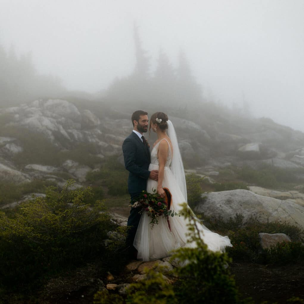 bride and groom at artist point wedding at mt baker in the north cascades