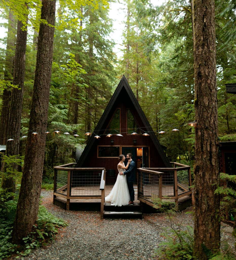 first look outside a frame cabin at mt baker in north cascades