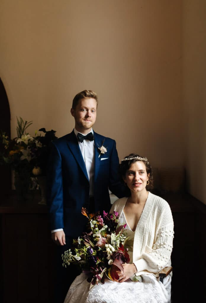 portrait of bride and groom during lopez island wedding